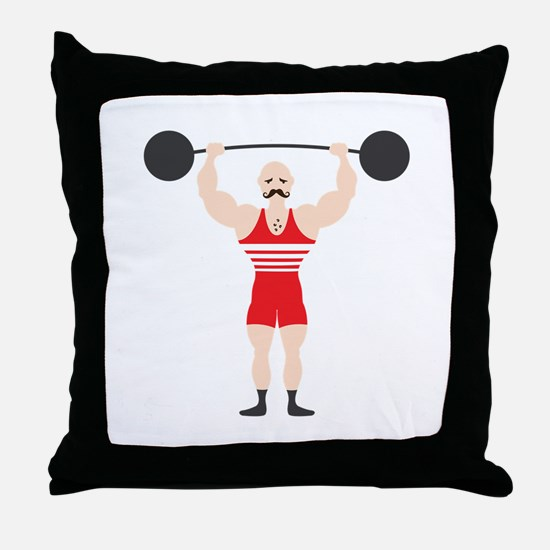 Circus Weightlifter Strong Man Throw Pillow