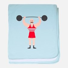 Circus Weightlifter Strong Man baby blanket