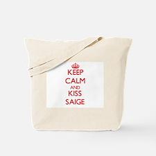 Keep Calm and Kiss Saige Tote Bag