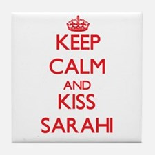 Keep Calm and Kiss Sarahi Tile Coaster