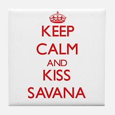 Keep Calm and Kiss Savana Tile Coaster