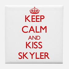 Keep Calm and Kiss Skyler Tile Coaster