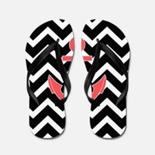 Black Chevron Anchor  Flip Flops