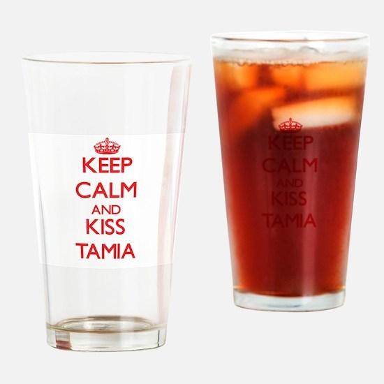 Keep Calm and Kiss Tamia Drinking Glass