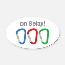 On Belay! Oval Car Magnet