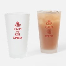 Keep Calm and Kiss Ximena Drinking Glass