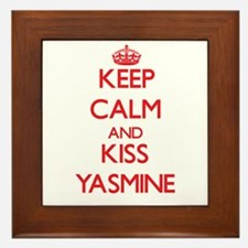 Keep Calm and Kiss Yasmine Framed Tile