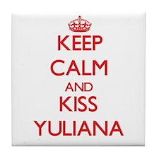 Keep Calm and Kiss Yuliana Tile Coaster