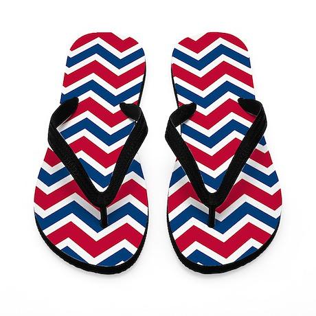 Red Blue Chevron Stripes Flip Flops