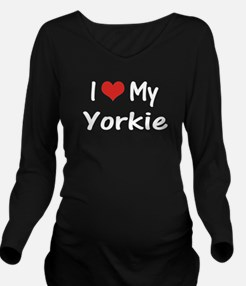 I Heart My Yorkie Long Sleeve Maternity T-Shirt