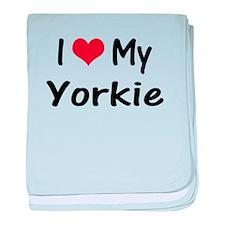 I Heart My Yorkie baby blanket
