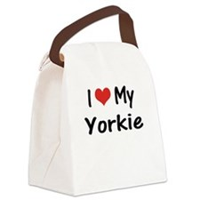 I Heart My Yorkie Canvas Lunch Bag