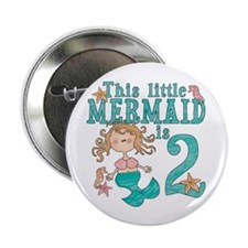 Mermaid 2nd Birthday Button