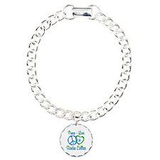 Peace Love Border Collie Charm Bracelet, One Charm