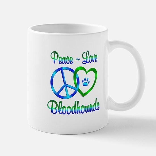 Peace Love Bloodhounds Mug