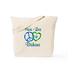 Peace Love Bichons Tote Bag