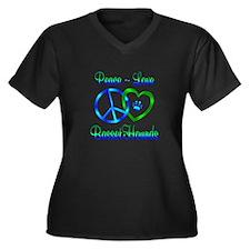 Peace Love B Women's Plus Size V-Neck Dark T-Shirt