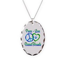 Peace Love Basset Hounds Necklace
