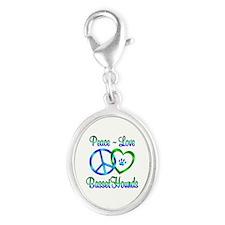 Peace Love Basset Hounds Silver Oval Charm