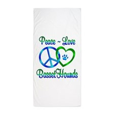 Peace Love Basset Hounds Beach Towel