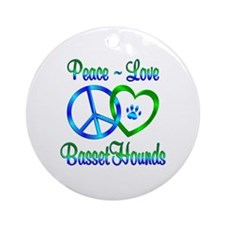 Peace Love Basset Hounds Ornament (Round)