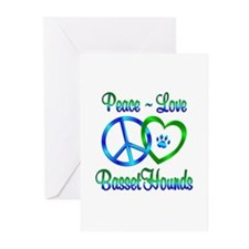 Peace Love Basset Hounds Greeting Cards (Pk of 20)