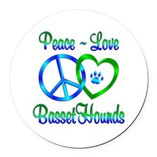 Peace Love Basset Hounds Round Car Magnet