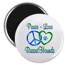 Peace Love Basset Hounds Magnet