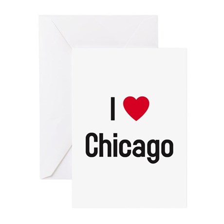 I Heart (Love) Chicago Greeting Cards (Package of