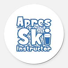 Apres Ski Instructor Round Car Magnet