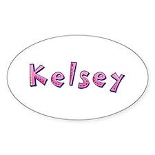 Kelsey Pink Giraffe Oval Decal