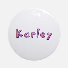 Karley Pink Giraffe Round Ornament