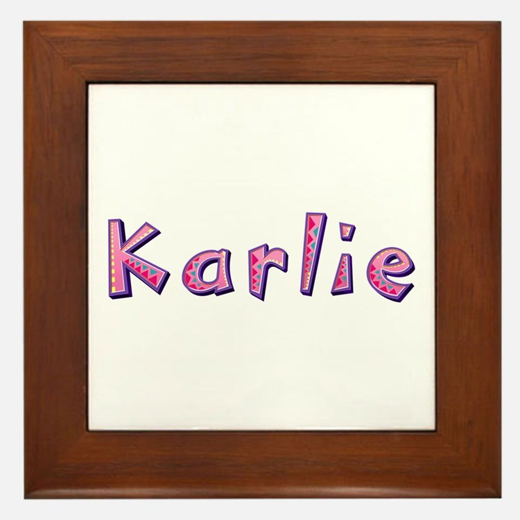 Karlie Pink Giraffe Framed Tile