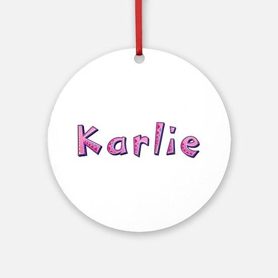 Karlie Pink Giraffe Round Ornament