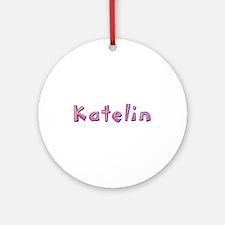 Katelin Pink Giraffe Round Ornament