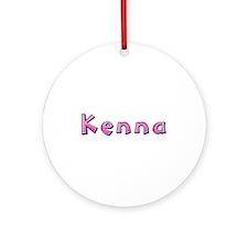 Kenna Pink Giraffe Round Ornament