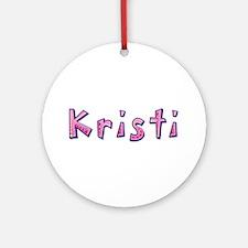Kristi Pink Giraffe Round Ornament