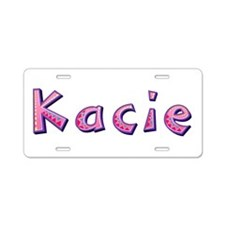 Kacie Pink Giraffe Aluminum License Plate