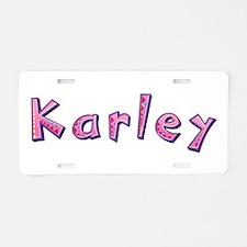 Karley Pink Giraffe Aluminum License Plate