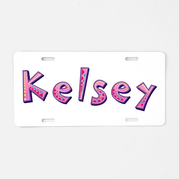 Kelsey Pink Giraffe Aluminum License Plate
