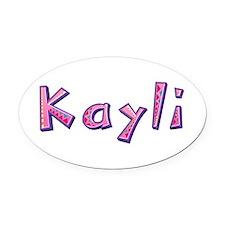 Kayli Pink Giraffe Oval Car Magnet
