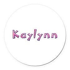 Kaylynn Pink Giraffe Round Car Magnet