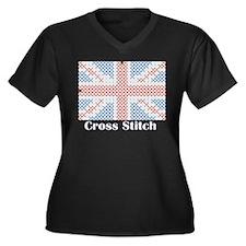 British - Cross Stitch Women's Plus Size V-Neck Da