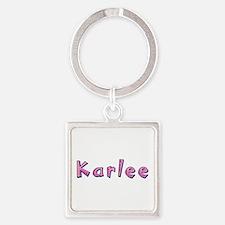 Karlee Pink Giraffe Square Keychain