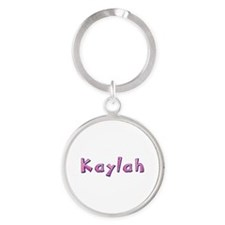 Kaylah Pink Giraffe Round Keychain
