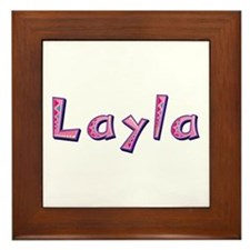 Layla Pink Giraffe Framed Tile