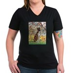 Spring with a Boxer Women's V-Neck Dark T-Shirt