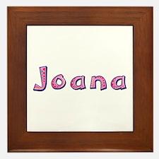 Joana Pink Giraffe Framed Tile