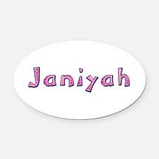 Janiyah Pink Giraffe Oval Car Magnet