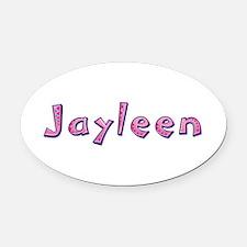 Jayleen Pink Giraffe Oval Car Magnet